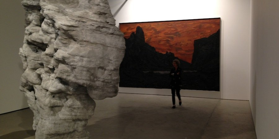 A sculpture and a painting at Hauser & Wirth