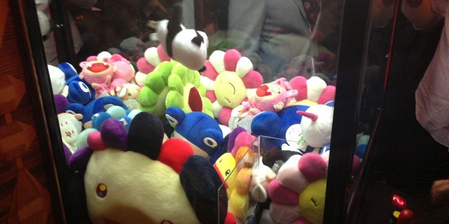 Stuffed creatures in Takashi Murakami's claw machine