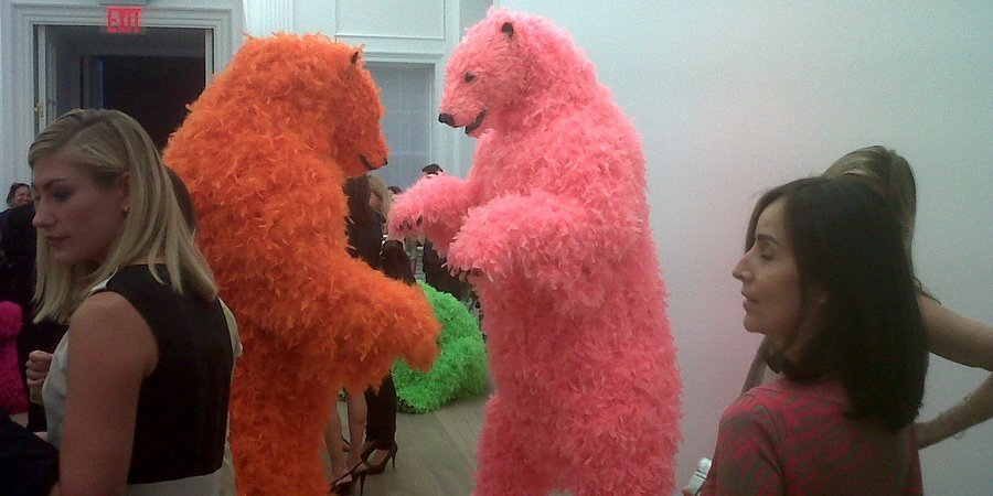 "Paola Pivi's feathery foam bears at the opening of ""Ok, You Are Better Than Me, So What?"" at Perrotin"