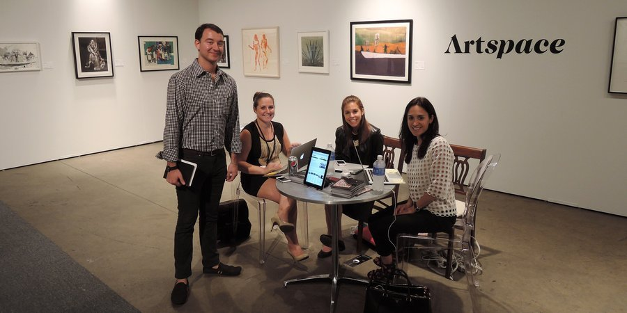 The Artspace team mans the booth at EXPO CHICAGO