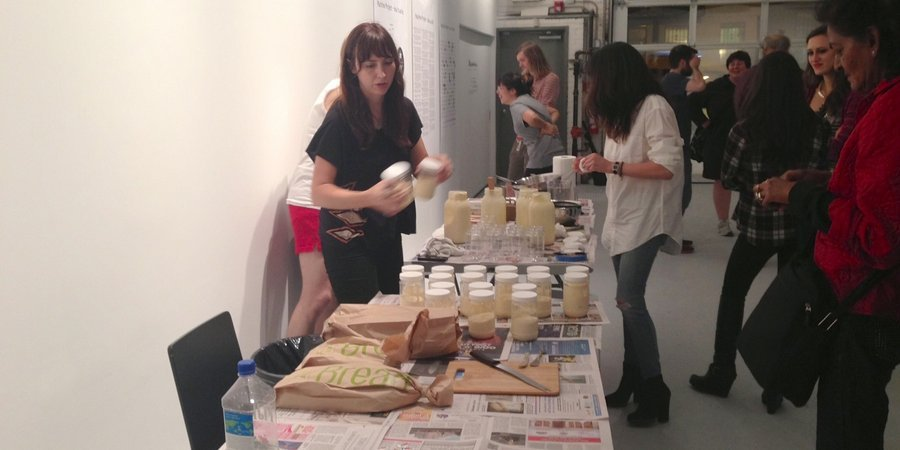 "PopSoda's butter-aerobics class, ""Feel the Churn!"" at the Rauschenberg Project Space"