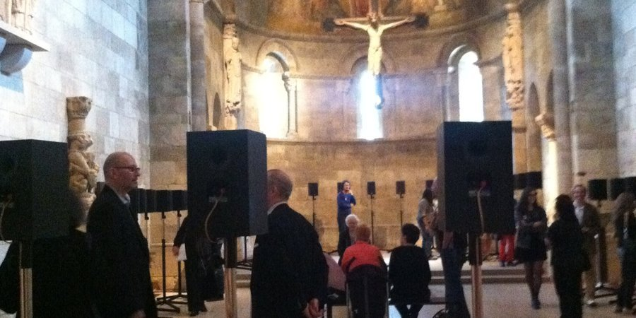 Janet Cardiff's <em>Forty-Part Motet</em> (2001) at the Cloisters.