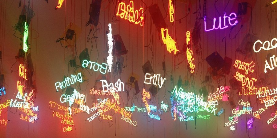 Rhoades made neon signage out of every possible word for female genitalia, reinstalled on the top floor of ICA Philadelphia as a nod to Rhoades's obsession with taboo.