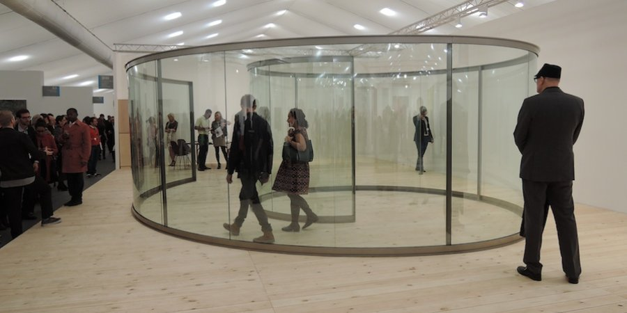 Lisson Gallery brought a mesmerizing Dan Graham sculpture to the fair.
