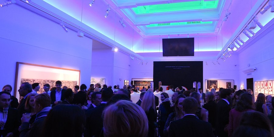 A party at Sotheby's London to preview the house's fall auction