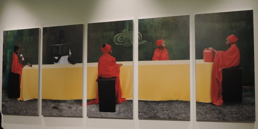 Maimouna Guerresi's <em>M-Eating, Students & Teacher</em> (2012) at M.I.A. Gallery