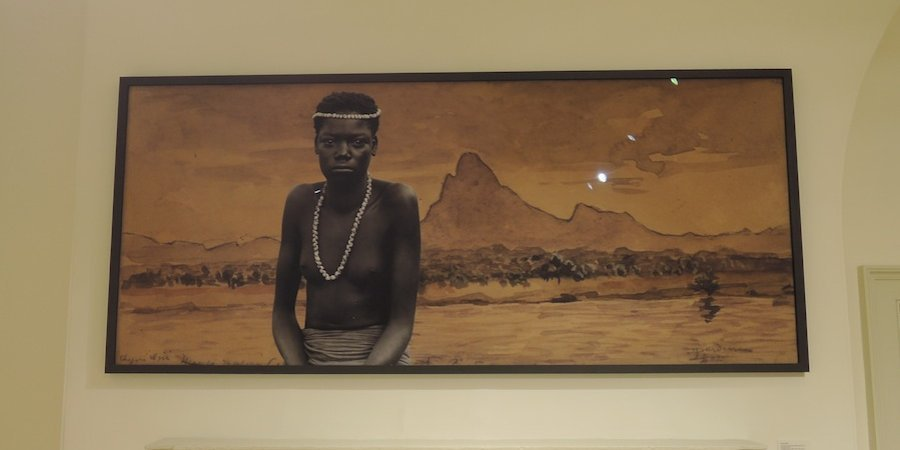 Sammy Baloji's <em>Portrait #2: Luba Woman Against Watercolor by Dardenne</em> (2011)