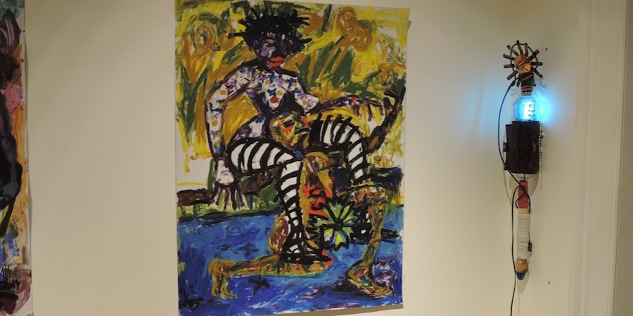 A painting by Wycliffe Mundopa at First Floor Gallery Harare