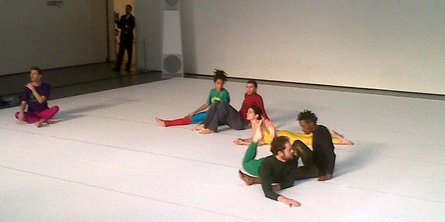 "Boris Charmatz, Ashley Chen, Raphaëlle Delaunay, Christophe Ives, Lénio Kaklea, Mani A.Mungai, and Valda Setterfield perform ""Flip Book"" at the Museum of Modern Art"