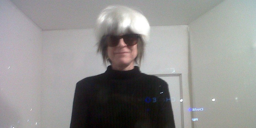 "Linda Yablonsky dressed as Andy Warhol for the opening of the ""Area"" exhibition curated by Jeffreh Deitch at The Hole"