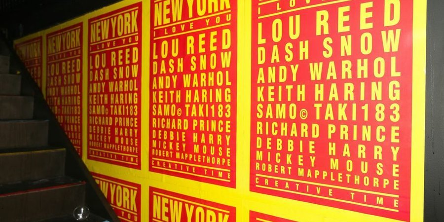 "Andre Saraiva's ""New York I Love You"" posters at the Creative Time party, photo by David X. Prutting at BFA"