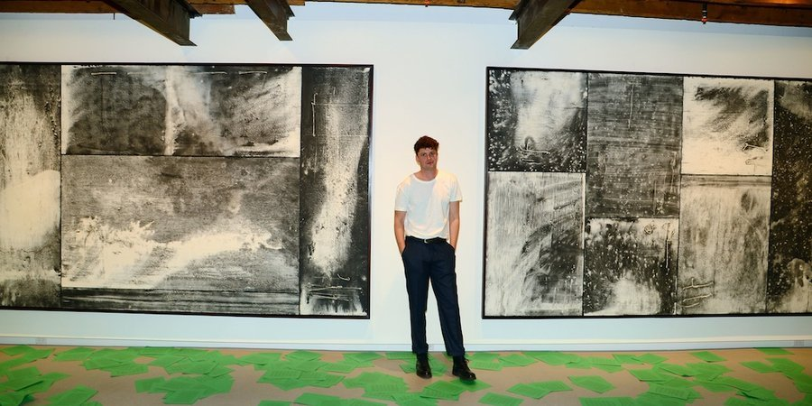 Artist Toby Christian with his work at the opening of the new RH Contemporary Art gallery in Chelsea, photo by Patrick McMullan