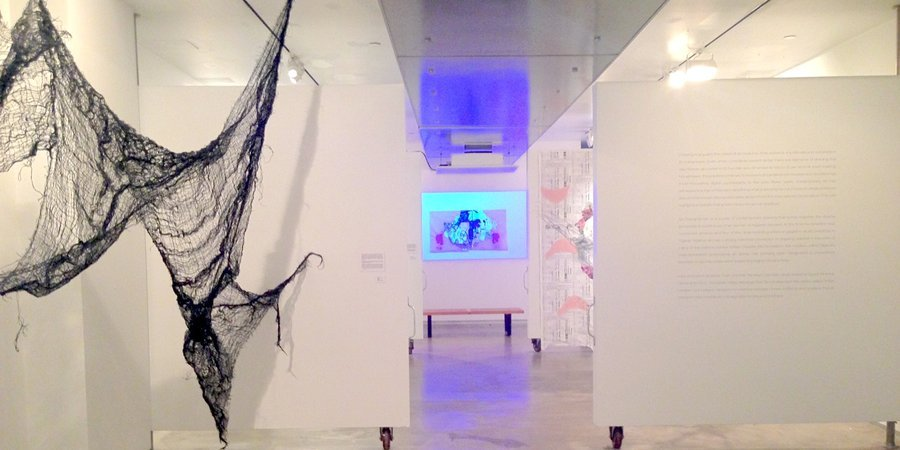"Installation view of ""Six Draughsmen"" at MoCADA"