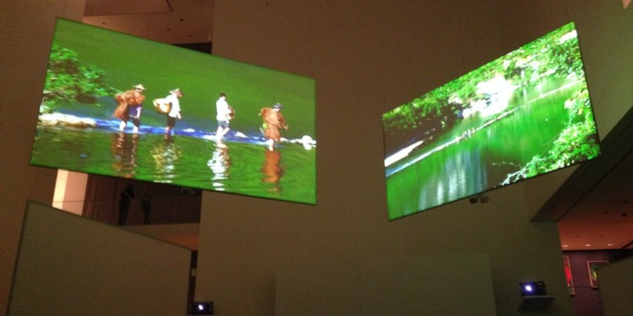 "The opening of Isaac Julien's ""The Thousand Waves"" in MoMA's atrium"