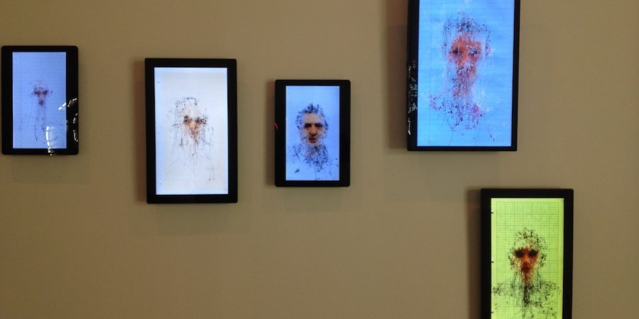 "Mariano Sardón's ""Morphologies of Gaze"" series at Brice Wokowitz trace the path taken by an eye examining a portrait."