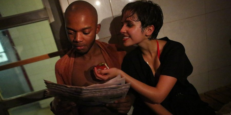 "A still from Johnson's production of LeRoi Jones's racially charged, claustrophobic two-person play ""The Dutchman"" in the Russian & Turkish Baths as part of Perfoma 13"