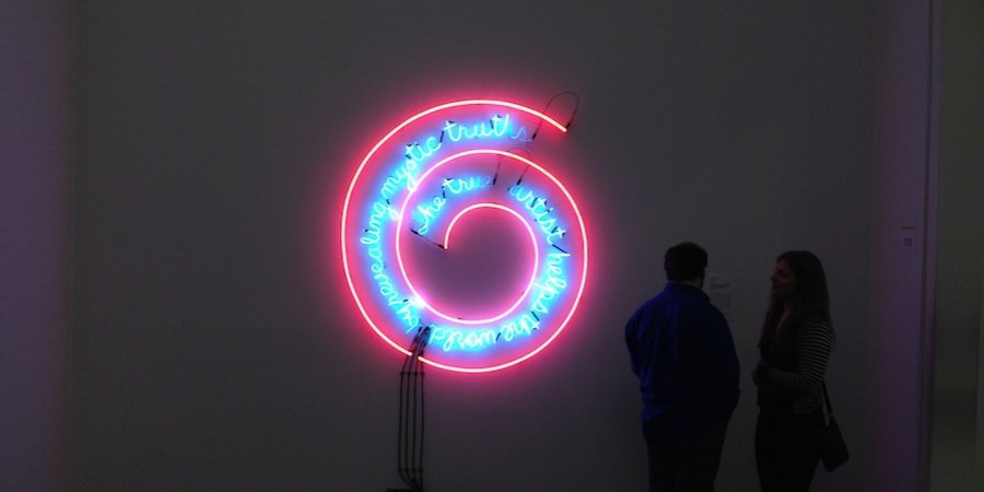 One of Philadelphia's iconic masterpieces of contemporary art, Bruce Nauman's <em> The True Artist Helps the World by Revealing Mystic Truths</em> (1967) at the Philadelphia Museum of Art