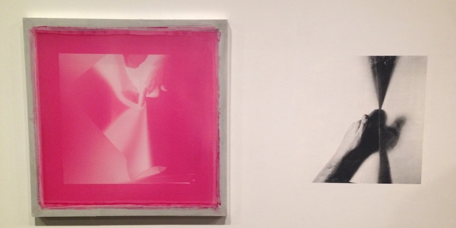 Julien Bismuth's silkscreen painting at Simone Subal (made with real silkscreen, as in one taped to its surface)