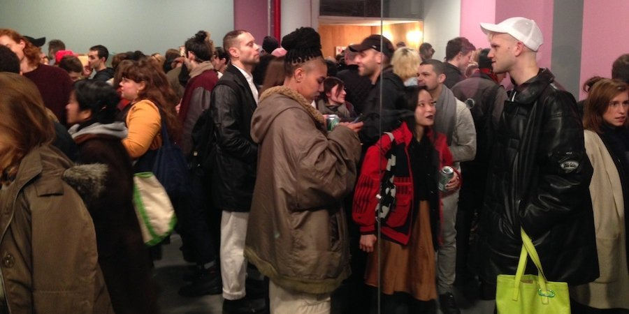 The scene at the opening of the White Columns Annual, curated by the amazing Pati Hertling