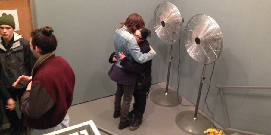 A performance at White Columns in which Malin Arnell offered to slow-dance with anyone who asked her in front of two industrial fans (next to a banana peel, though unclear if that was part of it)