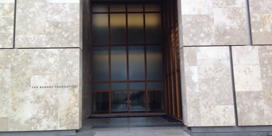 The entrance to the new Barnes Foundation building, designed by Tod Williams and Billie Tsien, who you may know from the beleaguered Folk Art Museum