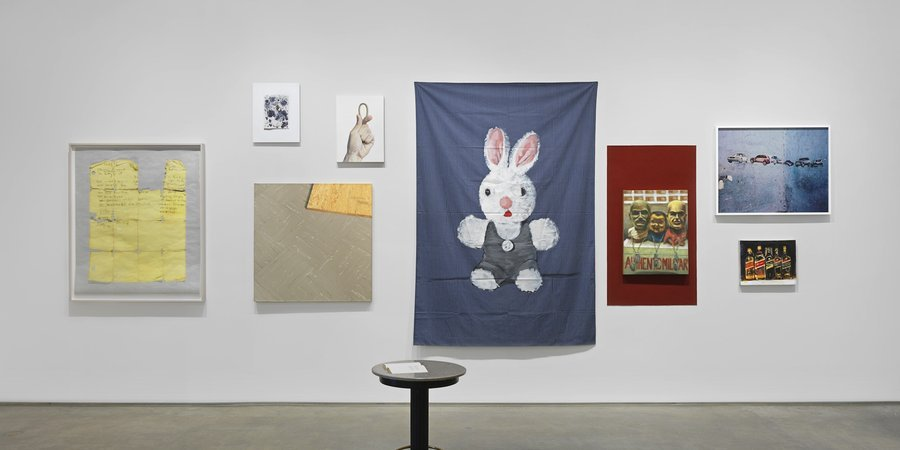 Another view, with Walter Robinson's bunny painting at dead center (Courtesy of the artist and Metro Pictures)