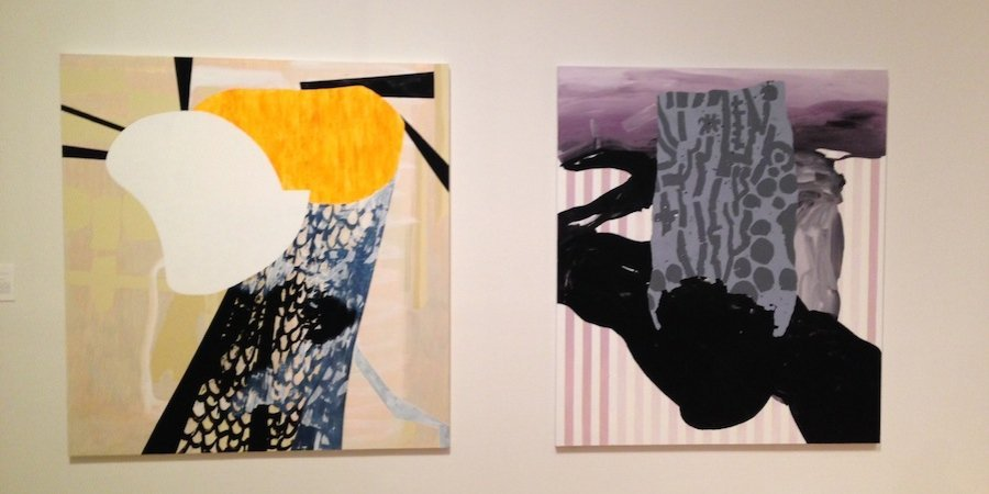 Two paintings by Charlene von Heyl in the exhibition