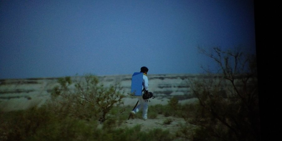 "A still from Ginzburg's film ""Walking the Sea,"" set in the now-dray Aral Sea"