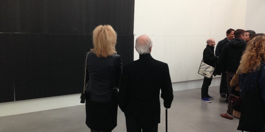 Admirers at the opening of Wade Guyton's new show at Petzel