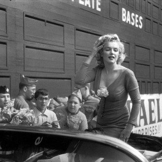 "NYC. 1959. Marilyn Monroe visiting Ebbets Field, she was in New York for the opening of her film ""Some like it hot"" by Billy Wilder. art for sale"