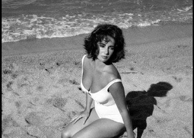 "Burt Glinn - Spain. Sagaro. 1959. Twenty-five-year-old Elizabeth Taylor on the set of ""Suddenly Last Summer"", in which she co-stars with Katharine Hepburn and Montgomery Clift. It is Taylor's first film after the death of her 3rd husband, Mike Todd, in a plane crash."
