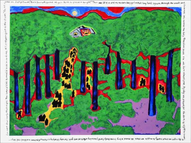 main work - Faith Ringgold, Coming to Jones Road Under a Blood Red Sky #5