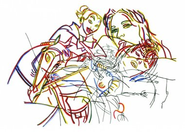 work by Ghada Amer - Sleeping Beauty Without The Castles