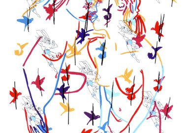 work by Ghada Amer - Superman And The Birds