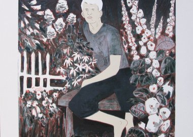 work by Hernan Bas - The Albino in the moonlight garden