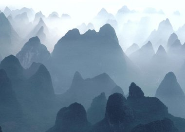 work by Hiroji Kubota - China. Guilin. Huangshan Mountains. 1980. Aeria...