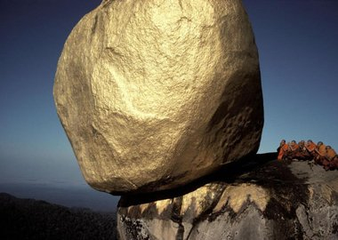 "Hiroji Kubota - Burma. Kyaiktiyo. The Golden Rock at Shwe Pyi Daw (the ""Golden Country""), the Buddhist holy place."