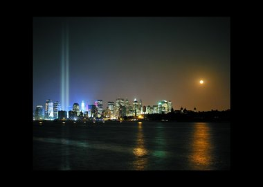 work by Julian LaVerdiere and Paul Myoda - Tribute in Light Over Ellis Island