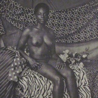 Mickalene Thomas, Portrait of Marie Sitting in Black and White