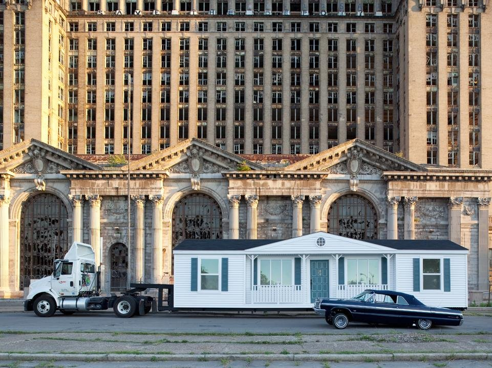 by mike_kelley - Mobile Homestead in front of Michigan Central Depot