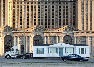 work by Mike Kelley - Mobile Homestead in front of Michigan Central D...