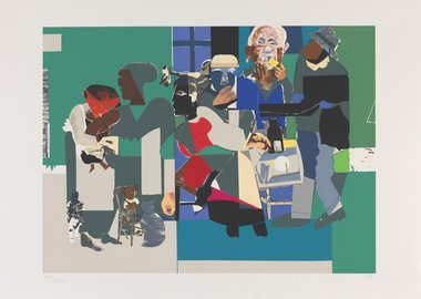 work by Romare Bearden - Family Dinner