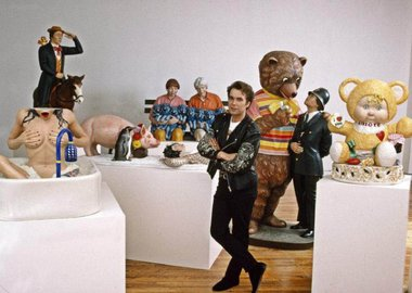 work by Thomas Hoepker -  1989. Jeff Koons with collection of his sculpt...